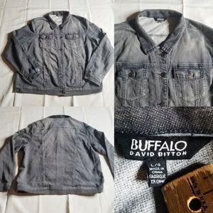 Buffalo David Bitton Gray Moto Biker Jean Jacket L